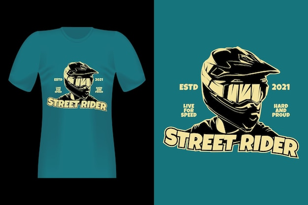 Street rider silhouette vintage t-shirt design
