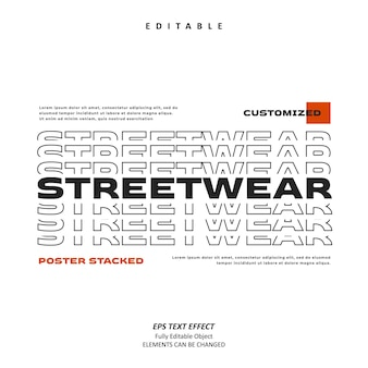 Streetwear-linientitel gestapelter texteffekt editierbar premium-vektor
