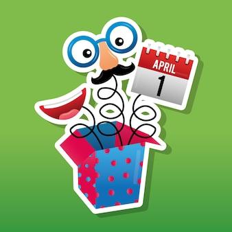 Streich comic-box mit maske kalender und mund