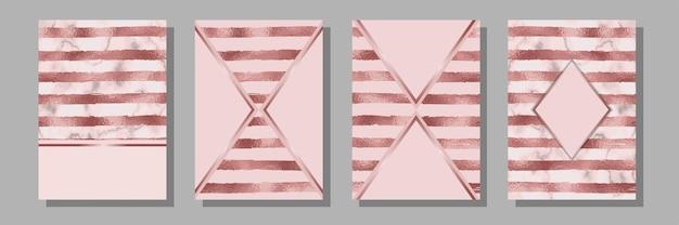 Streifen-rosa-gold-cover-set luxus-metallfolien-abstract-cover für vorlagen