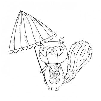 Streifenhörnchen mit sonnenschirm und sonnenbrille