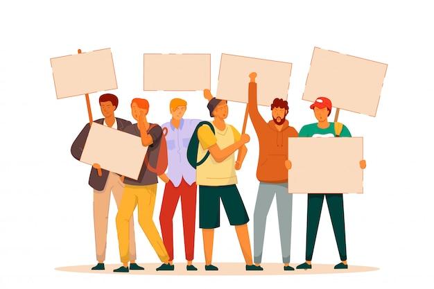 Streikender mann. wütender aggressiver aufstand oder jubelnder crowd demonstrator mit plakaten. vektorleute erhoben faust und unterschreiben auf treffen, protestillustration. streikender mann isoliert