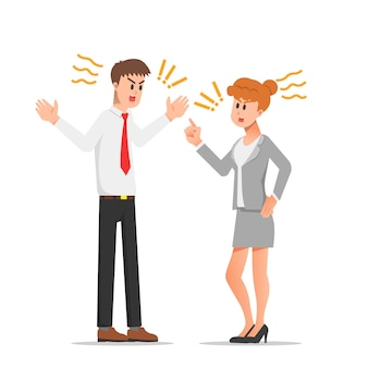 Streit zwischen kollegen bei der arbeit illustration