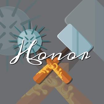 Streitkolben und hammer