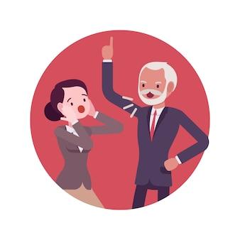 Streitszene im büro zwischen chef und arbeiter