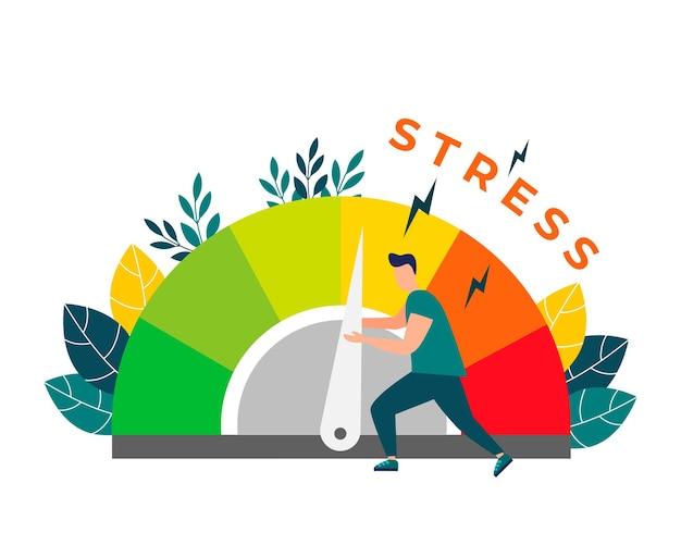 Stress abbauenstressniveaus werden durch das konzept der problemlösung reduziert.müde von frustration