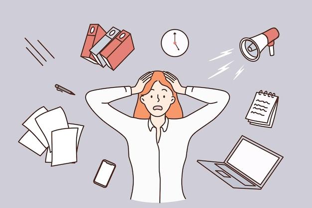 Stress, burnout, müdes konzept. junge gestresste arbeiterin cartoon-figur, die den kopf mit fliegenden dingen um die vektorillustration berührt