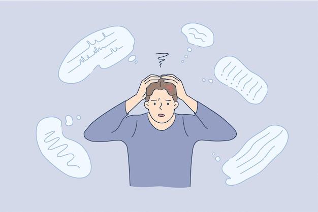 Stress, erschöpfung, gedankenfülle. junge gestresste mann-cartoon-figur, die den kopf berührt und das denken mit einer vielzahl von gedankenvektorillustrationen hat