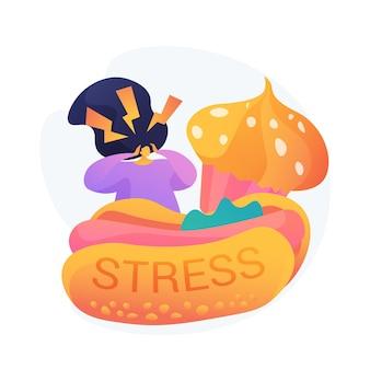 Stress essen. ungesunde lebensmittel konsumieren. essattacken, zwanghaftes überessen, angstzustände. gestresstes mädchen mit junk food, hot dog und cupcake.