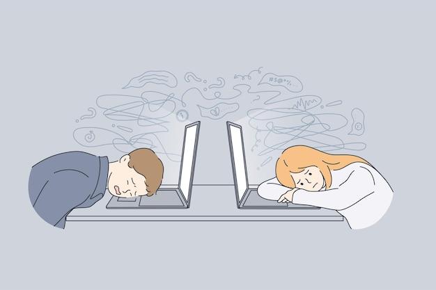 Stress, müdigkeit, burnout-konzept