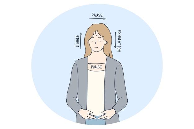 Stress, überarbeitung, atemkonzept