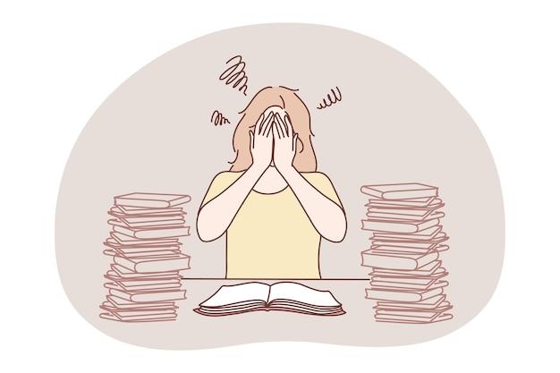 Stress, überlastung, überlastung, burnout-konzept. junge unglückliche frustrierte frauenkarikaturfigur, die mit haufen bücher oder arbeitsdokumente sitzt, gesicht mit händen bedeckt und stressmüdigkeit fühlt