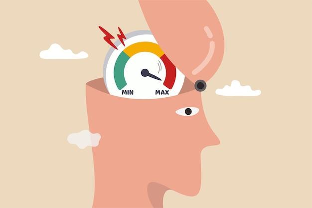 Stress- und angstniveau, erschöpfung und müdigkeit von der arbeit, die zu depressionen und psychischen erkrankungen führen, der menschliche kopf öffnet sich, um den stresspegel oder den müden zähler zu sehen, der ansteigt und das maximum in seinem gehirn erreicht.