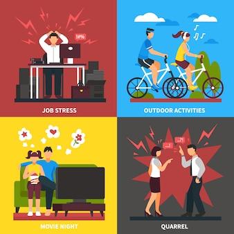 Stress und entspannung flaches design-konzept