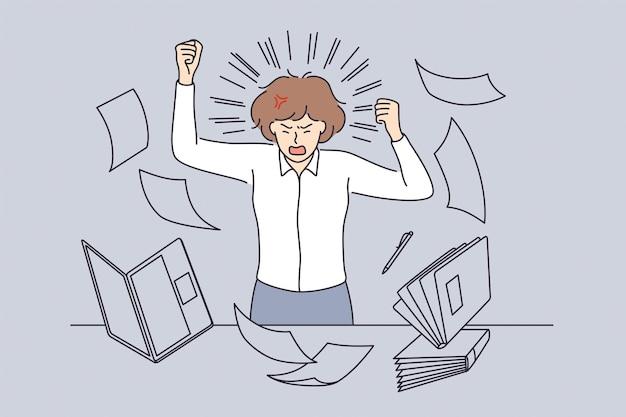 Stress und überarbeitung im bürokonzept