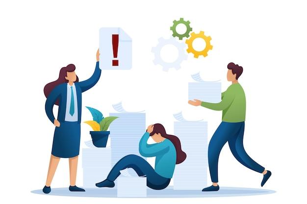 Stresssituation im büro, depressionen bei der arbeit, eine vielzahl von berichten.