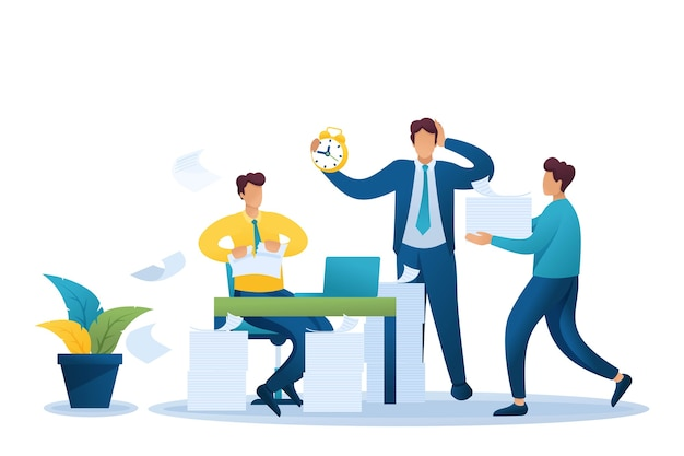 Stresssituation im büro, prozess der bearbeitung von dokumenten im büro.