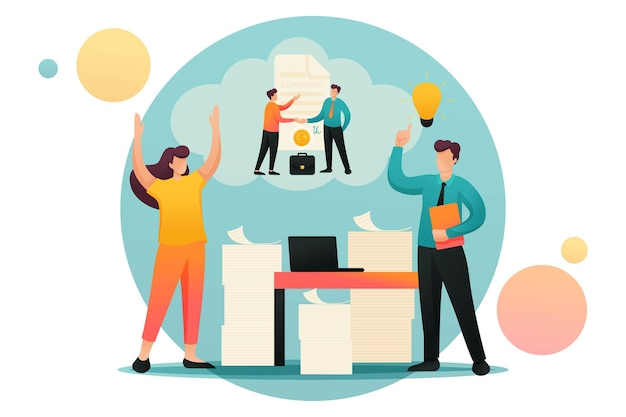 Stresssituation, lösung des problems durch mitarbeiter des unternehmens. flacher 2d-charakter. konzept für webdesign.