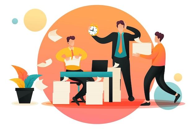Stresssituation, prozess des sammelns von dokumenten für den bericht. flacher 2d-charakter. konzept für webdesign.