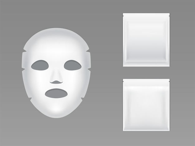 Stretchfolie gesichtsmaske in leeren weißen versiegelten plastikbeutel
