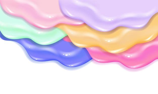 Streulack karamell oder marmelade schleim textur. stilvolles buntes malkonzept der geschichteten acryl- oder aquarellflüssigkeit