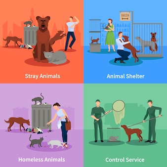 Streunende hunde und chats zeichnen verhalten außerhalb ihres gewohnheitsschutzes und steuern service-vektorillustration