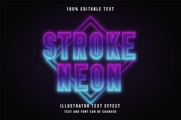 Strich neon, 3d bearbeitbarer texteffekt.
