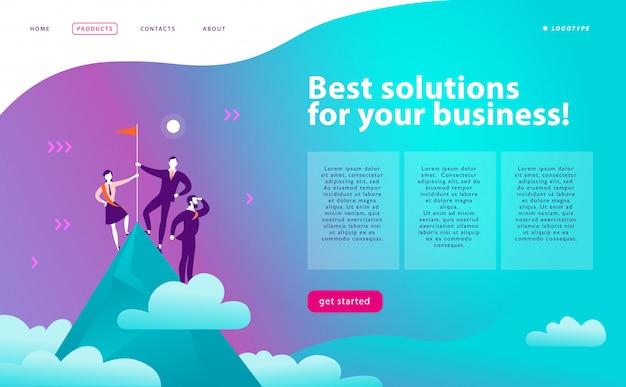 Strich-webseiten-designvorlage - geschäftslösungen, beratung, marketing, support-konzept. leute, die auf berggipfel mit flagge stehen. erfolg teamarbeit. landing page.