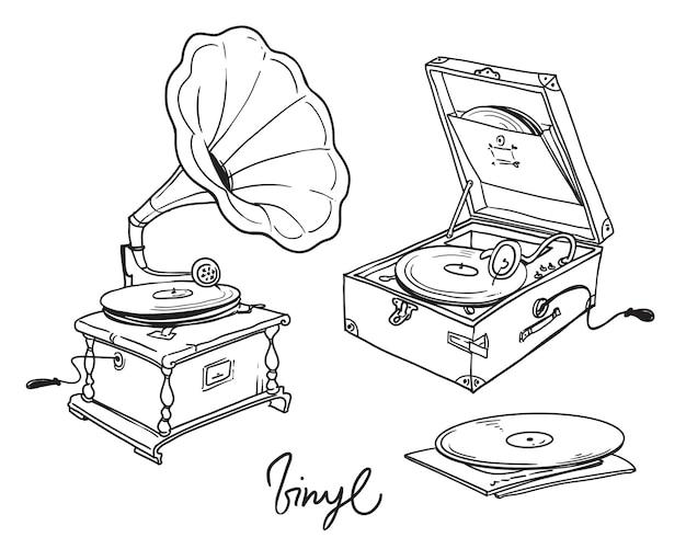 Strichzeichnung der klassischen und tragbaren grammophon-vektorillustration der weinlese