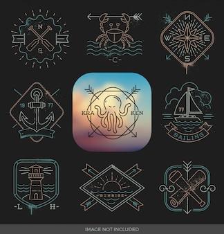 Strichzeichnung illustration - nautische, abenteuer- und reiseemblemzeichen und -etiketten auf einem schwarzen hintergrund
