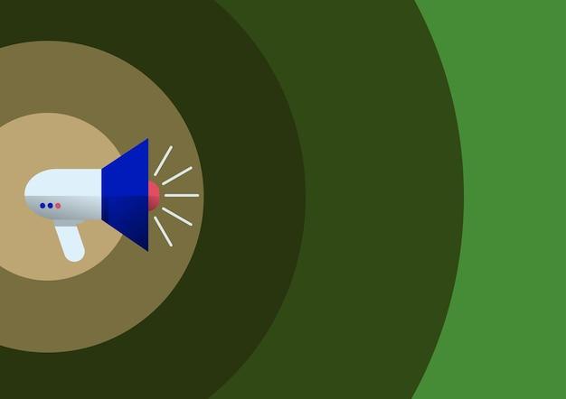 Strichzeichnung megaphon, die die aktuelle werbeillustration eines lauten megaphonlautsprechers produziert