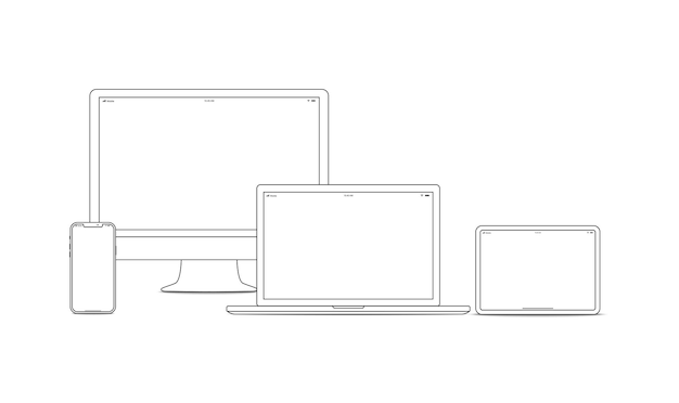 Strichzeichnungen für gerät und gadget. laptop, smartphone, moderne tragbare und kompakte pc-maschinen für die heim- und büroarbeit. vektorgrafik-gerät mit vektorgrafiken