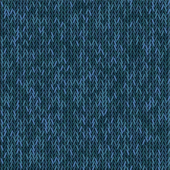 Strick textur melange blaue farbe. nahtloser musterstoff. hintergrund stricken.