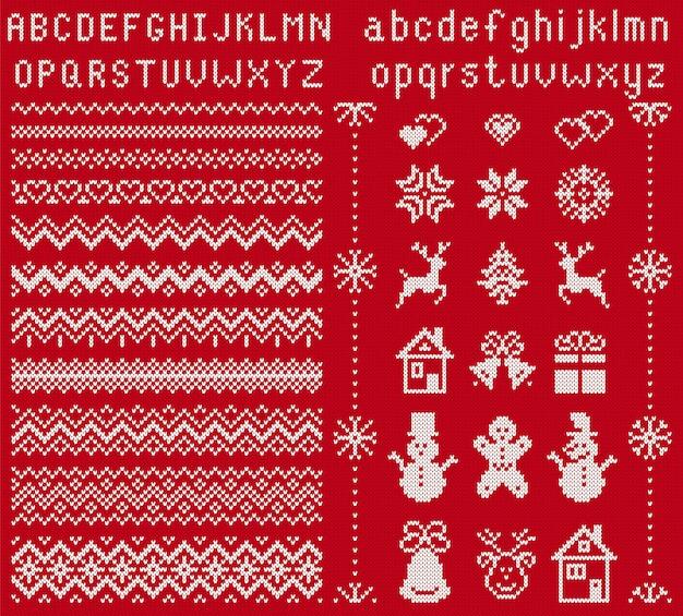 Strickelemente und schriftart. . weihnachten nahtlose grenzen. pullover muster. fairisle ornamente mit typ, schneeflocke, hirsch, glocke, baum, schneemann, geschenkbox. gestrickter druck. weihnachtsillustration. rote textur