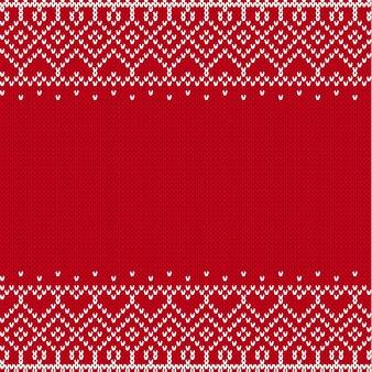 Stricken sie geometrische verzierung in der skandinavischen art mit leerem platz für text. strickmuster für einen pullover im fair isle-stil.
