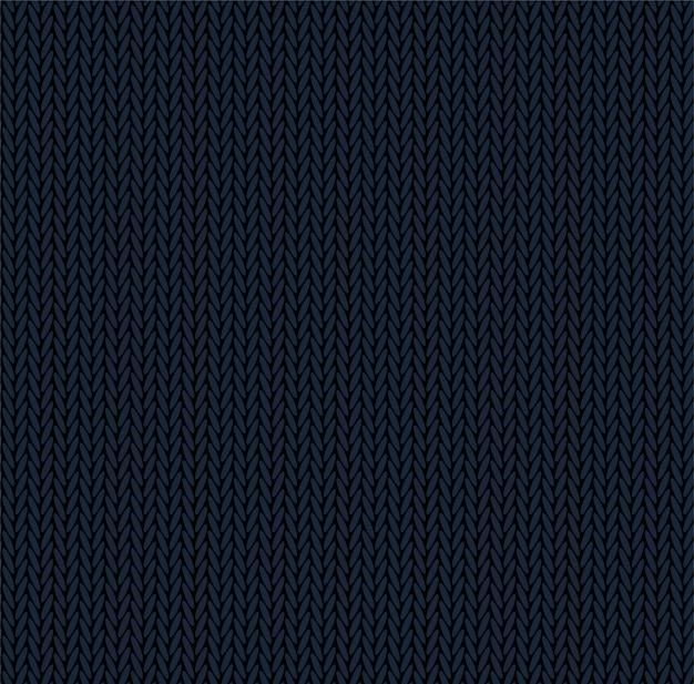 Stricken textur dunkelblaue farbe. nahtloser musterstoff. flaches design des strickhintergrunds.