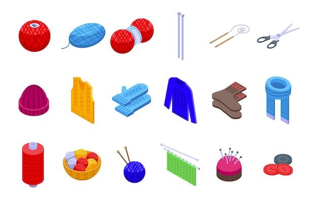 Strickende symbole gesetzt. isometrischer satz strickvektorikonen für das webdesign lokalisiert auf weißem hintergrund