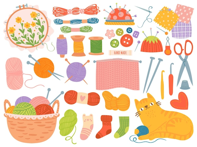 Strickfäden. bastelzubehör, fäden, nadeln, garnknäuel. schere, häkeln handgemachte handarbeit hobby, cartoon-vektor-set. handarbeit und handarbeit, handgemachte illustration basteln