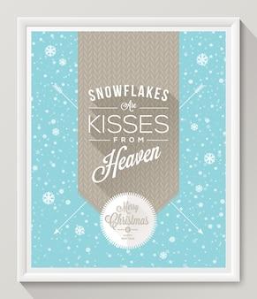 Strickmuster mit schriftart gegen schneefallhintergrund - weihnachtsplakat im weißen rahmen