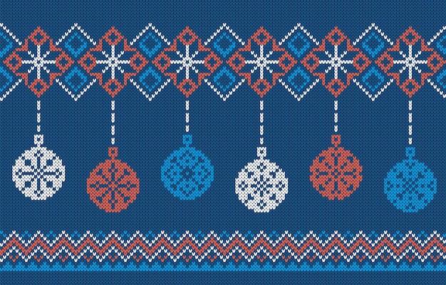 Strickmuster mit weihnachtskugeln. blauer nahtloser rahmen. hässliche weihnachtsverzierung. feiertag festliche textur