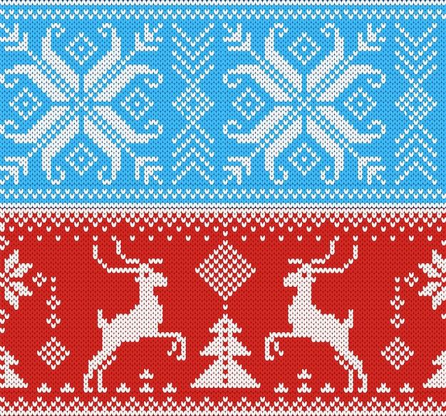 Strickmuster strickwolle textur hintergrund traditionelle gestrickte winterpullover weihnachten ornament illustration nahtlose satz von handstrick design von weihnachten strickwaren hintergrund