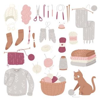 Stricknadeln wollstrickwaren oder gestrickter wollpullover und kätzchen mit wollkugel-handstricklogotypsatzillustration lokalisiert auf weißem hintergrund