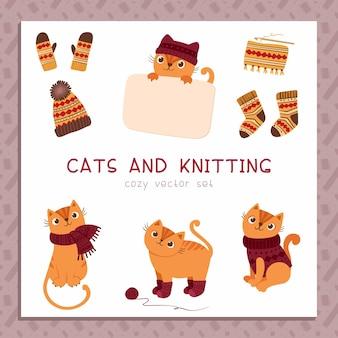 Strickwaren für katzen flache vektorillustrationen stellen süße verspielte kätzchen ein, die handgemachten pulloverschal tragen