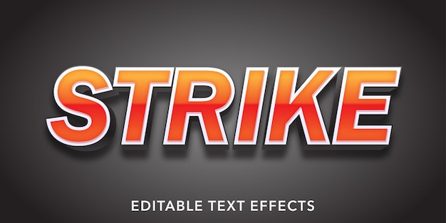 Strike text 3d style bearbeitbarer texteffekt