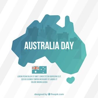 Striped hintergrund mit karte für australien-tag