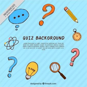 Striped hintergrund mit vielzahl von handgezeichneten quiz artikel