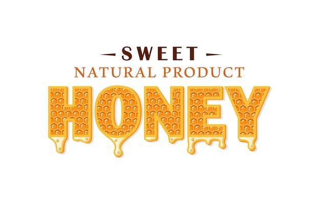 Ströme von honig mit wabe lokalisiert auf weißem hintergrund. honigetikett, logo, emblemkonzept.