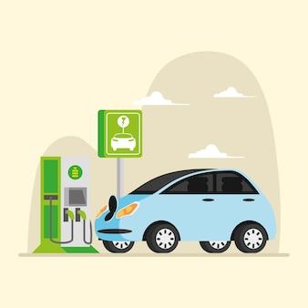 Strom für elektrofahrzeug-energiestation