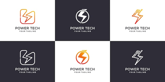 Strom symbol logo sammlung premium-vektor