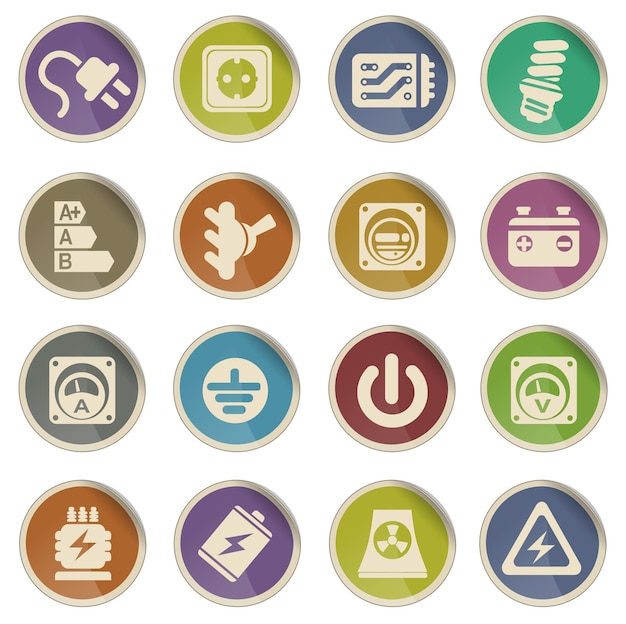 Strom symbol vektor web icon set